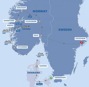 Trafalgar Scenic Scandinavia map