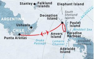 antarctica fly the drake passage map